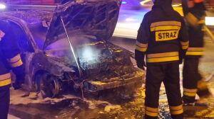 Spłonął samochód na Trasie Siekierkowskiej