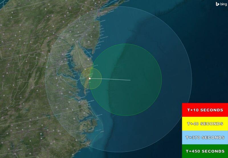Mapa przedstawiająca obszar, z którego będzie widać kolorowe obłoki (NASA)