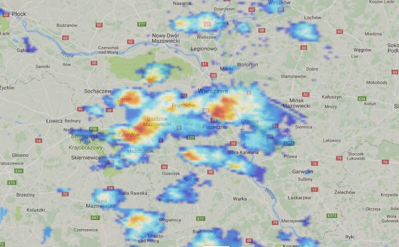 Opady nad Mazowszem o godz. 15.10 (radar-opadow.pl)