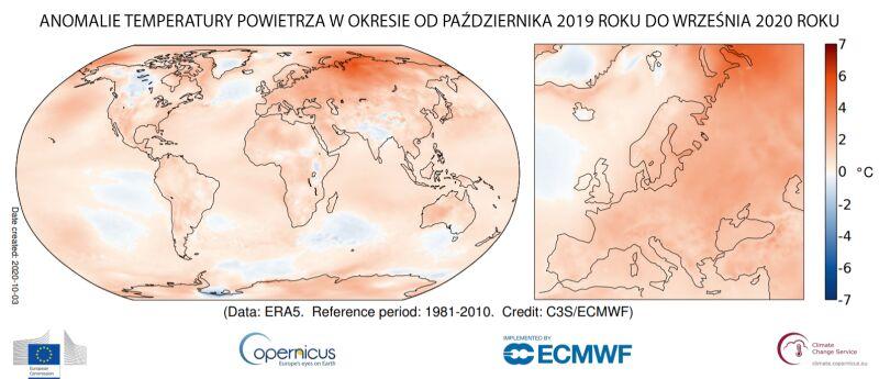 Anomalia temperatury powietrza w okresie od października 2019 roku do września 2020 roku (Copernicus Climate Change Service/ECMWF)