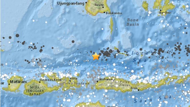Epicentrum trzęsienia ziemi w Indonezji (USGS)