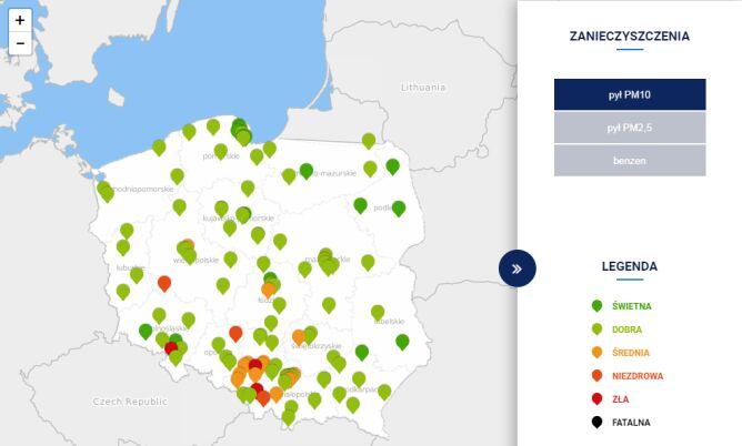 Stężenie pyłu PM10 w Polsce po godz. 15