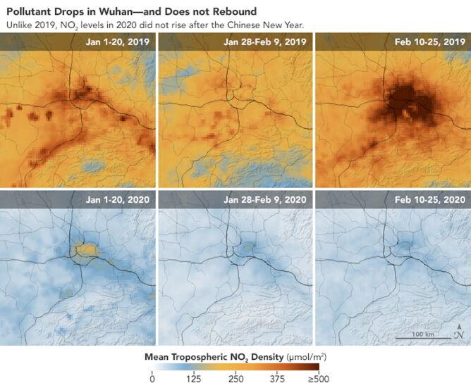 Zdjęcia satelitarne jakości powietrza w Wuhanie z okresu od 1 stycznia do 25 lutego 2019 roku i z analogicznego okresu 2020 roku (PAP/EPA/NASA HANDOUT)